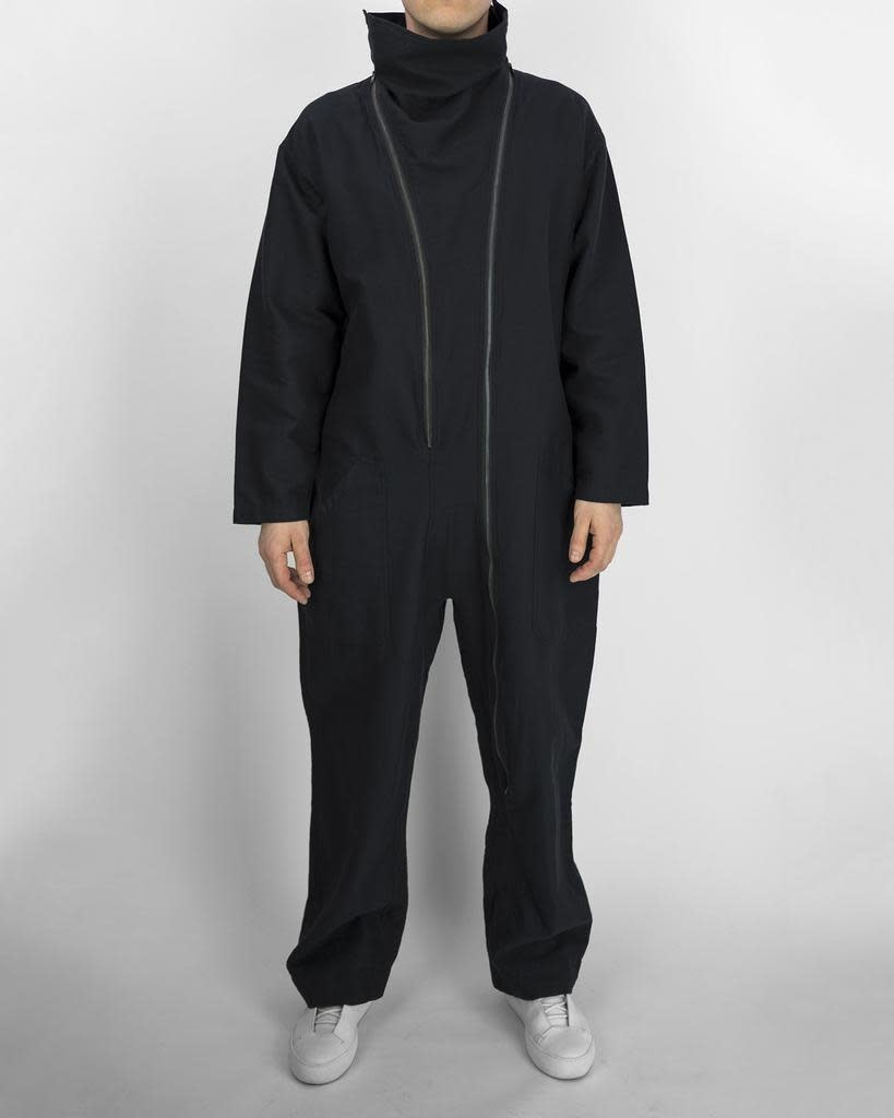 JUMPSUIT WITH DOUBLE ZIPS AND DRAPED COLLAR