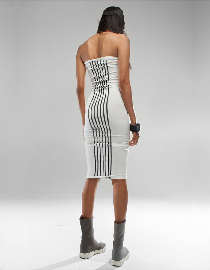 DEMOBAZA DRESS WHITE PARALLEL