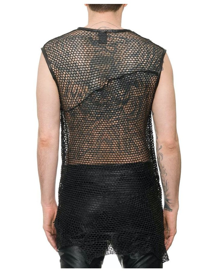 M-OJO RISIN SLEEVELESS LEATHER FISHNET SHIRT