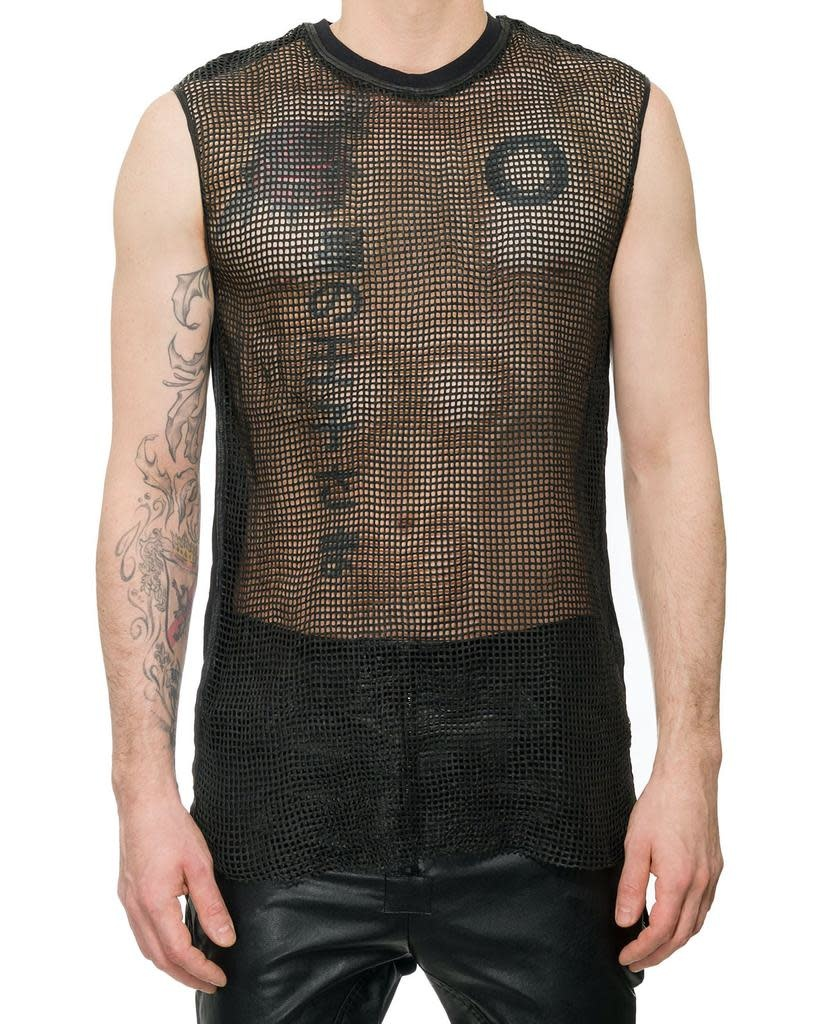PERFORATED LEATHER FRONT SLEEVELESS SHIRT - CUBO