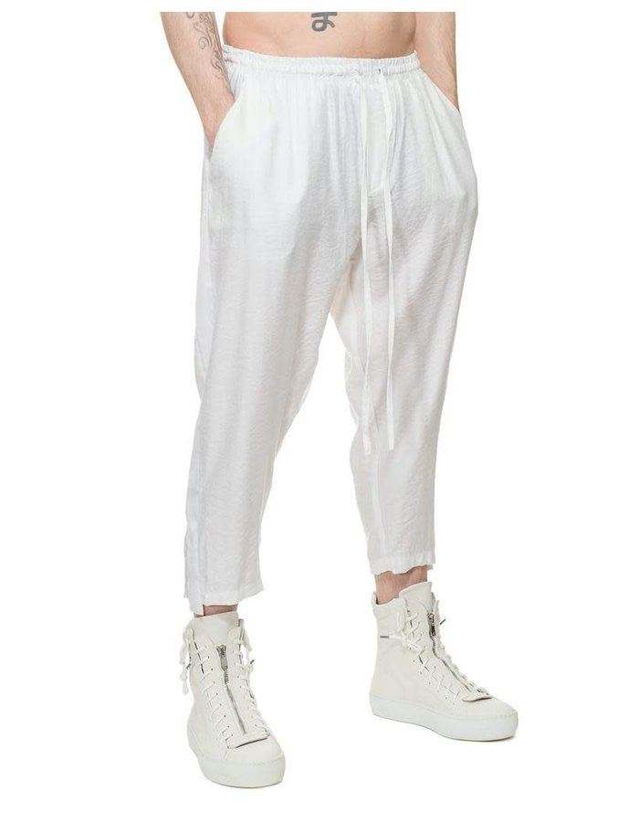 DAVIDS ROAD LIGHTWEIGHT CREASED COTTON TUXEDO PANT - WHITE