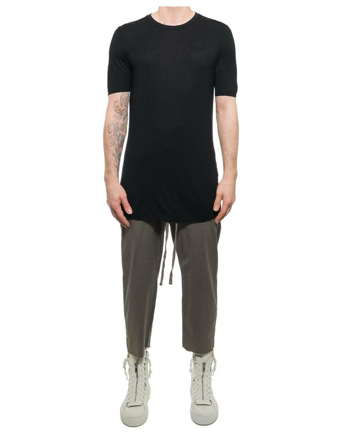 THOM KROM T-SHIRT IN VISCOSE AND SILK - BLACK