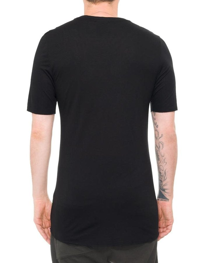 THOM KROM VISCOSE AND SILK SHORT SLEEVE TEE - BLACK