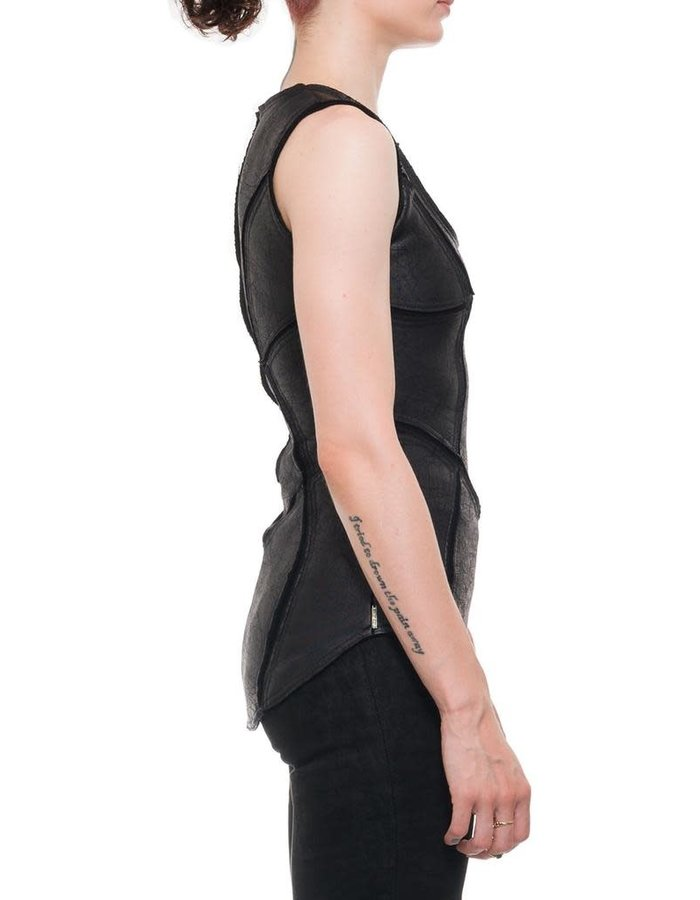 DAVIDS ROAD PATCHWORK LEATHER EFFECT TANK  TOP W