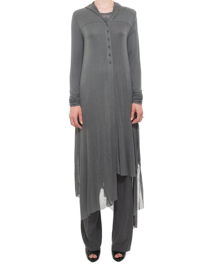PAL OFFNER LONG HOODED ASYMMETRIC CARDIGAN - CARBON