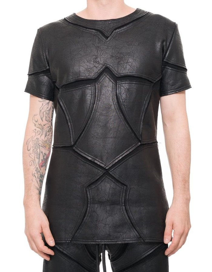 DAVIDS ROAD PATCHWORK LEATHER EFFECT T SHIRT