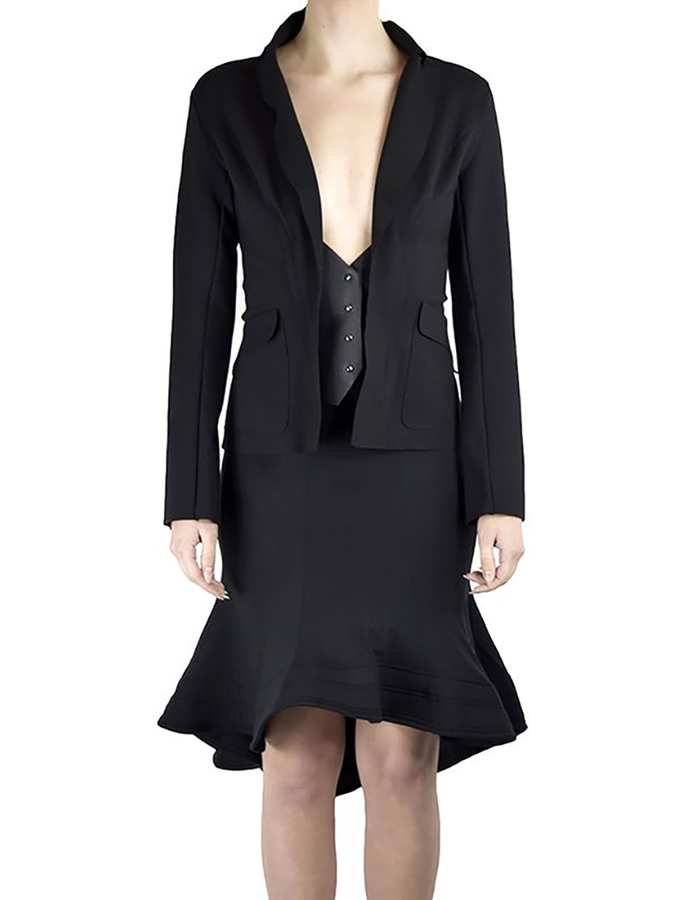 DAVIDS ROAD LONG SLEEVE BLAZER WITH LEATHER DETAIL
