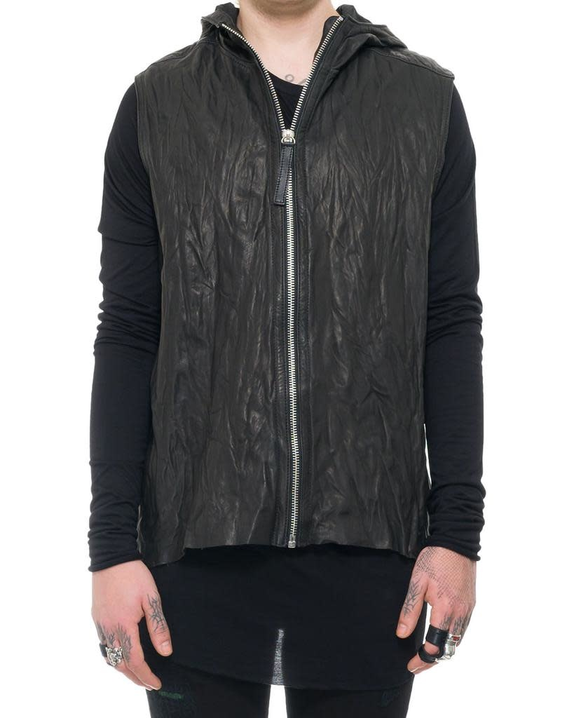 HOODED LEATHER VEST WITH ZIPPER