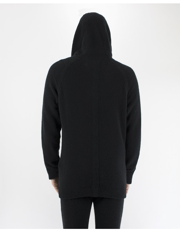 ISABEL BENENATO KNIT HOODED CREW NECK BLACK