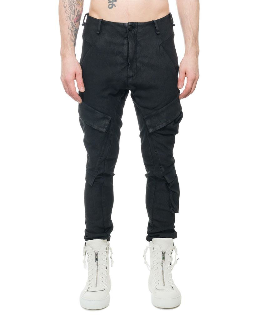 RESINATED COMBAT PANTS - BLACK
