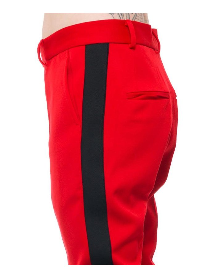ISABEL BENENATO TAILORED MILITARY TROUSER W/ STRIPE - RED