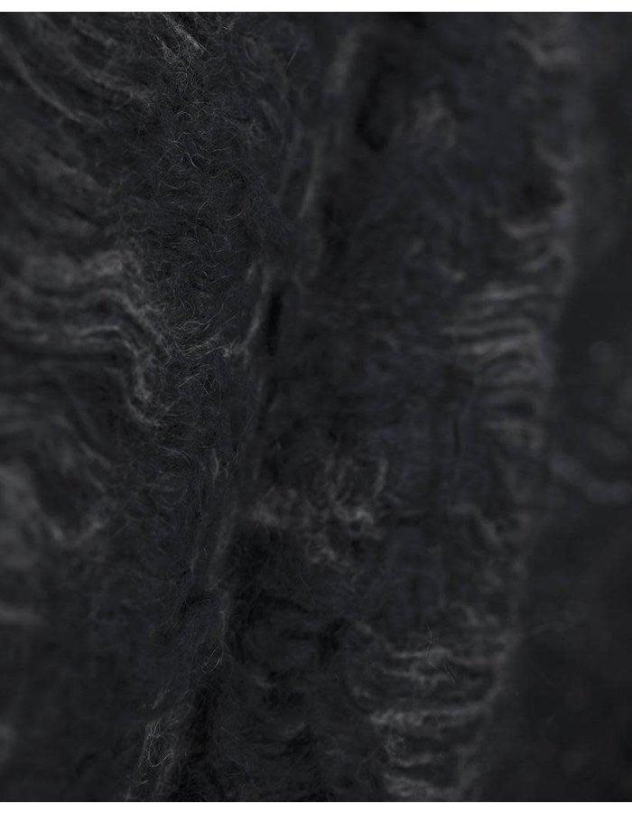 ISABEL BENENATO JACQUARD KNIT CARDIGAN WITH POCKETS ASH