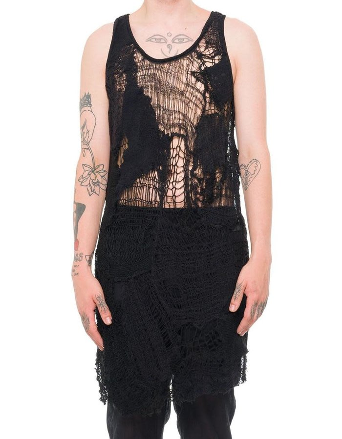 SANDRINE PHILIPPE LONG PATCHED DEKINTTED COUTURE TOP