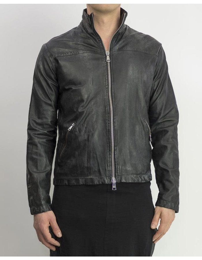 GIORGIO BRATO DISTRESSED PAPER LEATHER ZIP FRONT JACKET