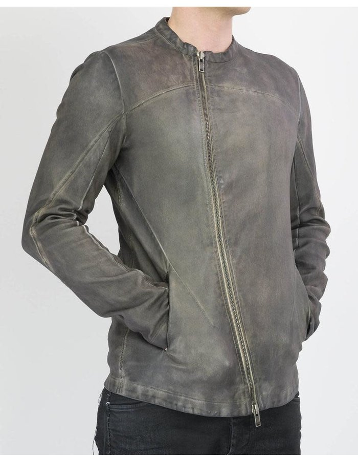 10SEI0OTTO CURVED ZIP STRETCH LEATHER JACKET