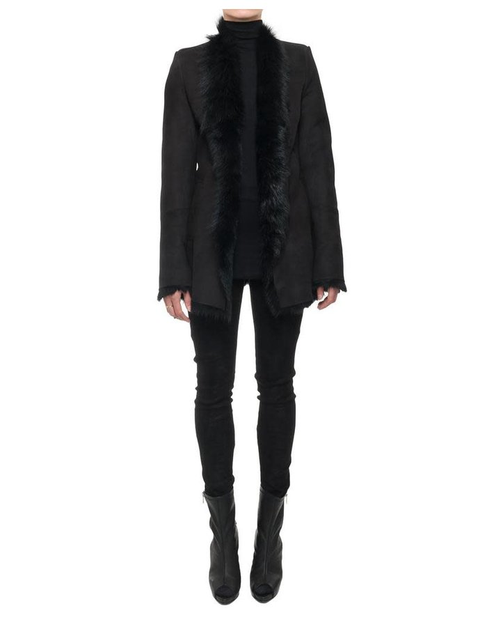 10SEI0OTTO LONG HAIR SHEARLING BELTED COAT