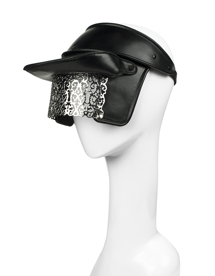 CECILIO LEATHER DESIGNS CAP WITH METAL VISOR