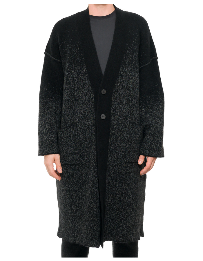 ISABEL BENENATO SPLATTER GRADIENT YAK CARDIGAN COAT - BLACK