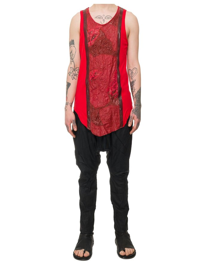 SANDRINE PHILIPPE TEXTURED LEATHER PANEL FRONT TANK - RED