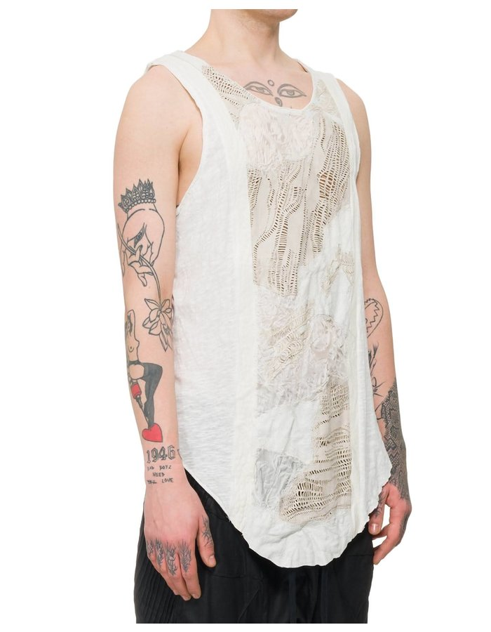 SANDRINE PHILIPPE TEXTURED LEATHER PANEL FRONT TANK - WHITE