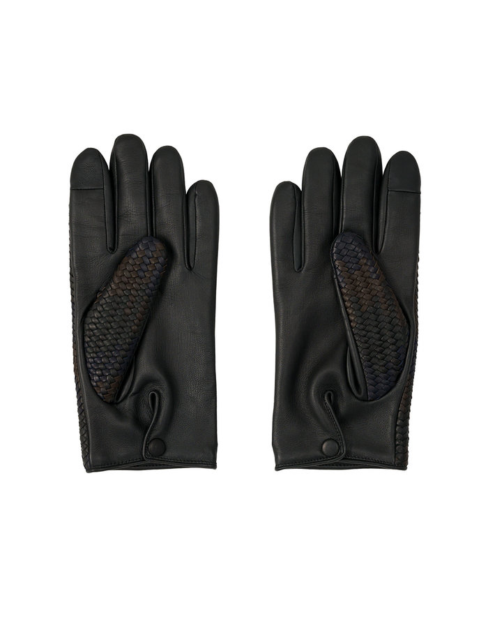 AGNELLE BRAIDED LEATHER GLOVES ALPACA LINING - BLACK/BROWN
