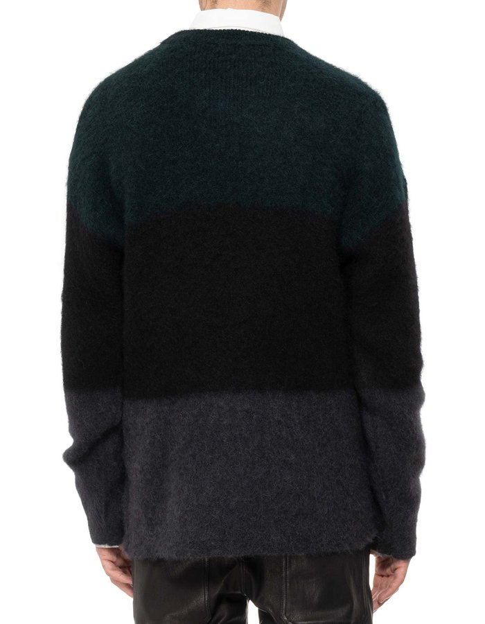 ISABEL BENENATO MULTI-COLOR BRUSHED MOHAIR SWEATER -PETROLEUM