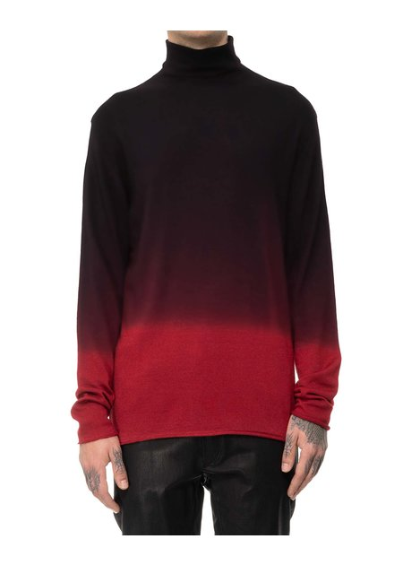 ISABEL BENENATO SHADED LIGHT WOOL TURTLENECK - DEEP RED