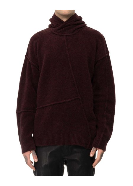 ISABEL BENENATO YAK HOODIE WITH STITCH DETAILS - BURGUNDY