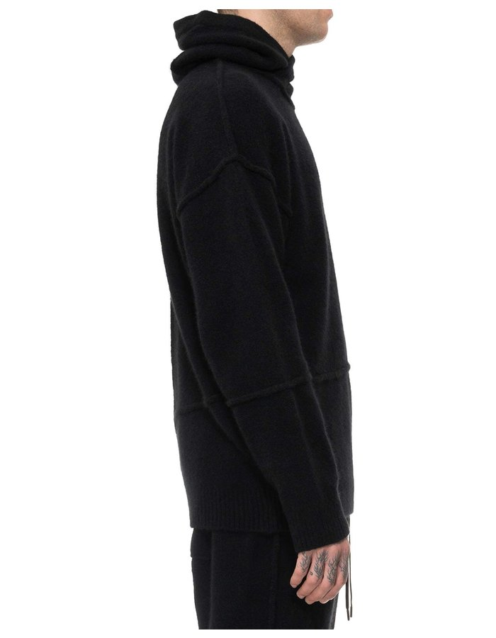 ISABEL BENENATO YAK HOODIE WITH STITCH DETAILS - BLACK