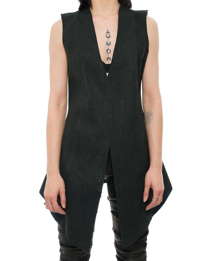 10SEI0OTTO REVERSIBLE LEATHER LONG VEST - BLACK