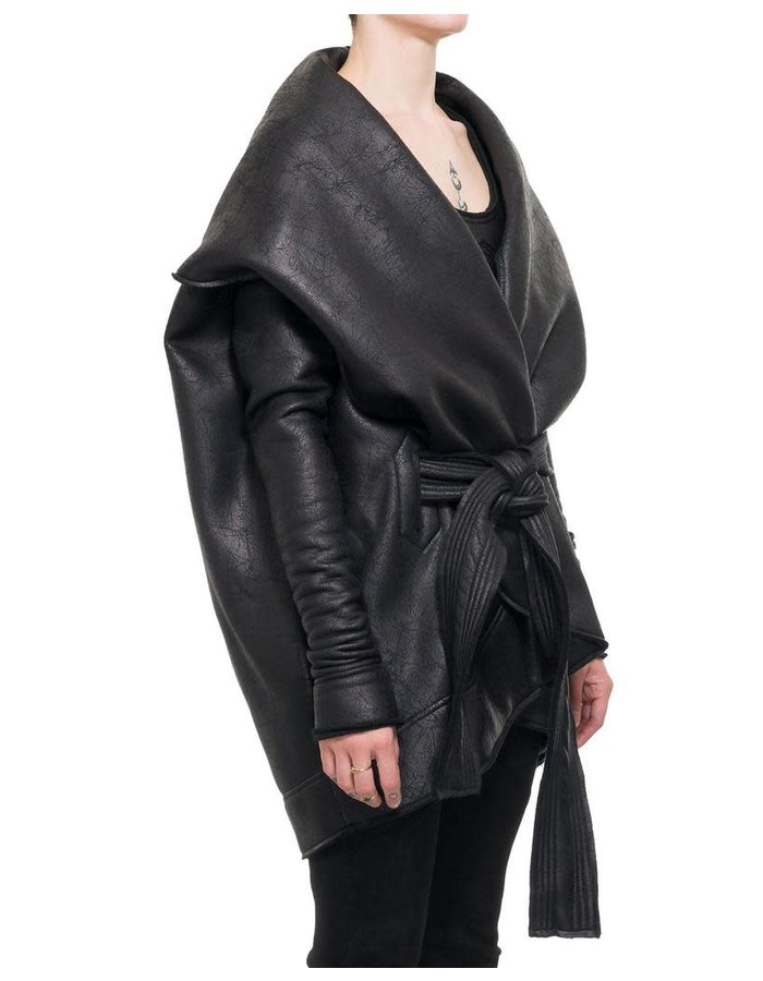 DAVIDS ROAD LEATHER EFFECT ROUNDED COAT