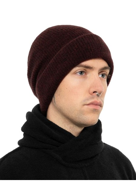 ISABEL BENENATO YAK KNITTED FISHERMANS BEANIE - BURGUNDY