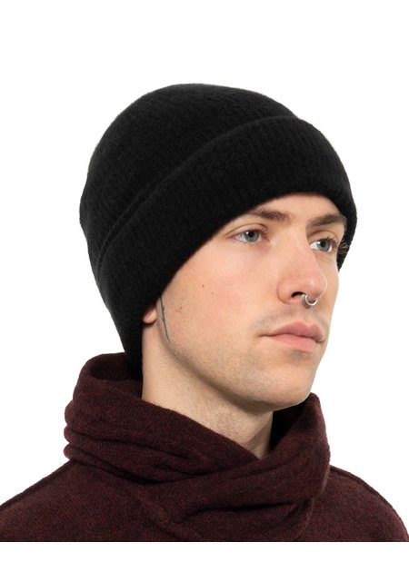 ISABEL BENENATO YAK KNITTED FISHERMANS BEANIE - BLACK