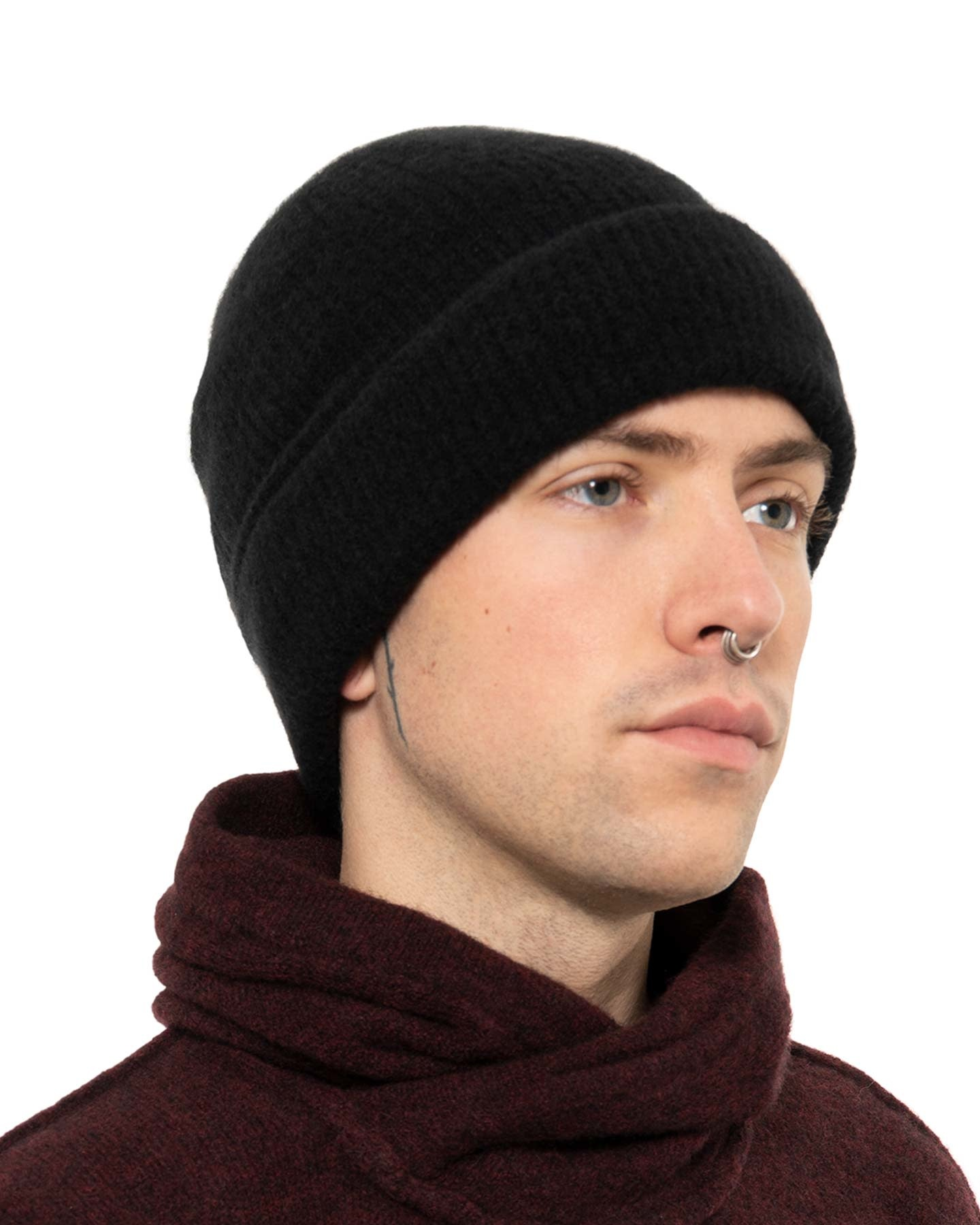 YAK KNITTED FISHERMANS BEANIE - BLACK