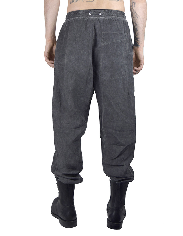 LOST AND FOUND ROOMS LINEN EASY PANT - COLD BLACK