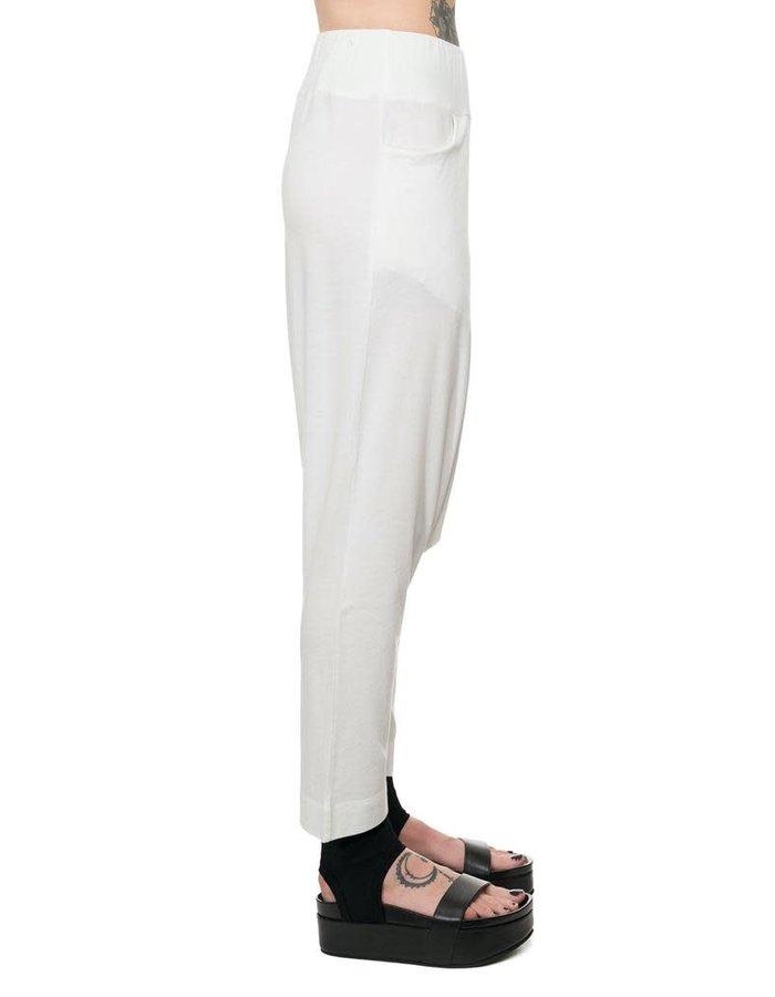 STUDIO B3 LIGHTWEIGHT JERSEY DROP CROTCH PANTS - OFF WHITE
