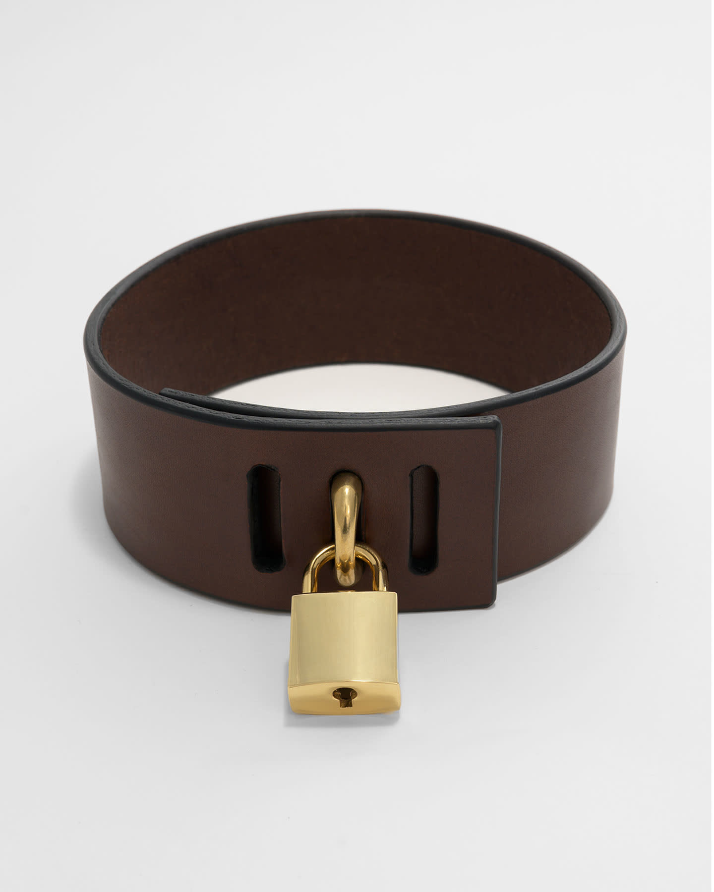 PADLOCK COLLAR - BROWN/GOLD