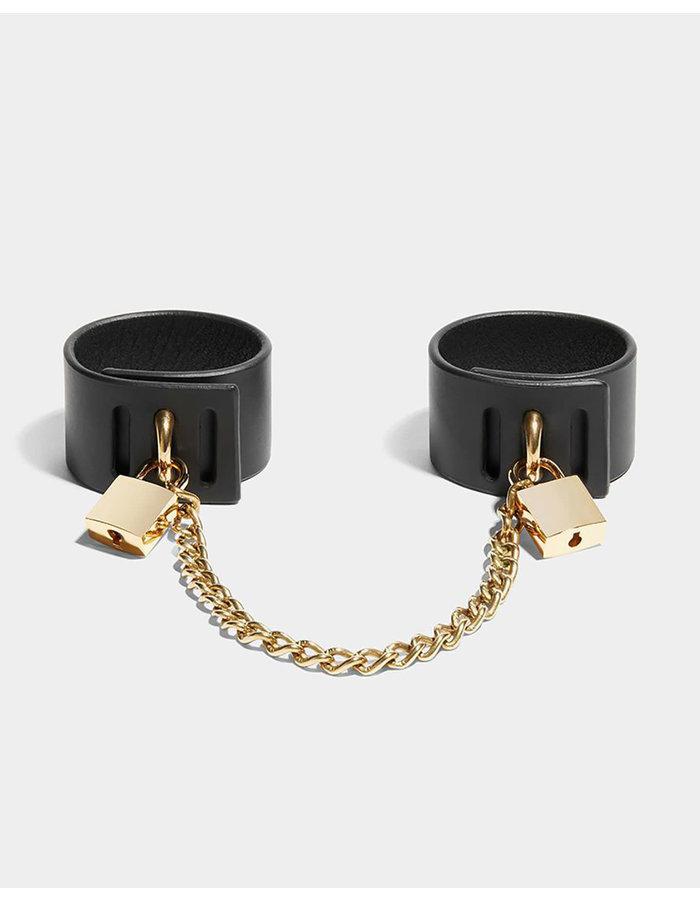 FLEET ILYA PADLOCK CUFFS WITH CHAIN - BLACK/GOLD