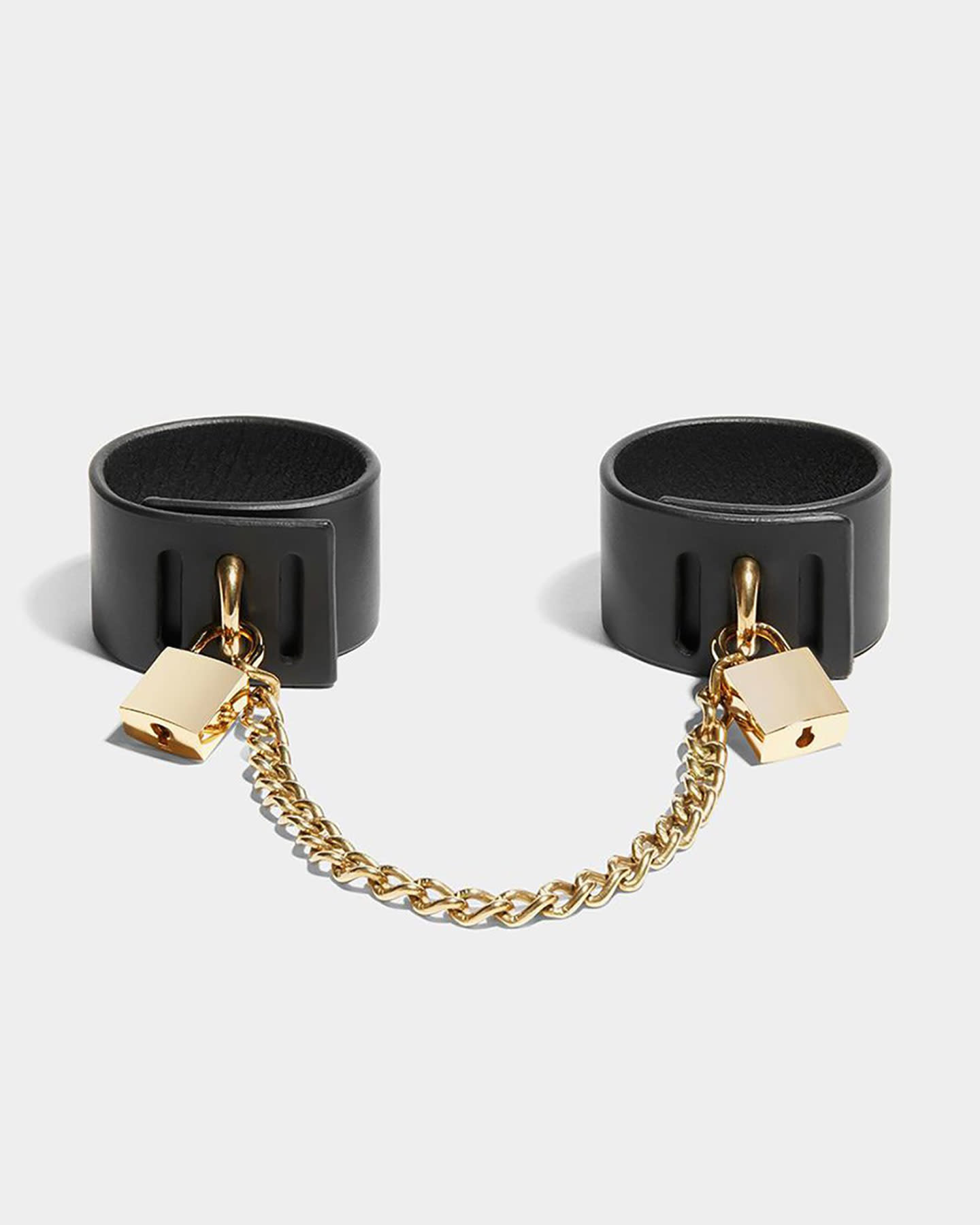 PADLOCK CUFFS WITH CHAIN - BLACK/GOLD