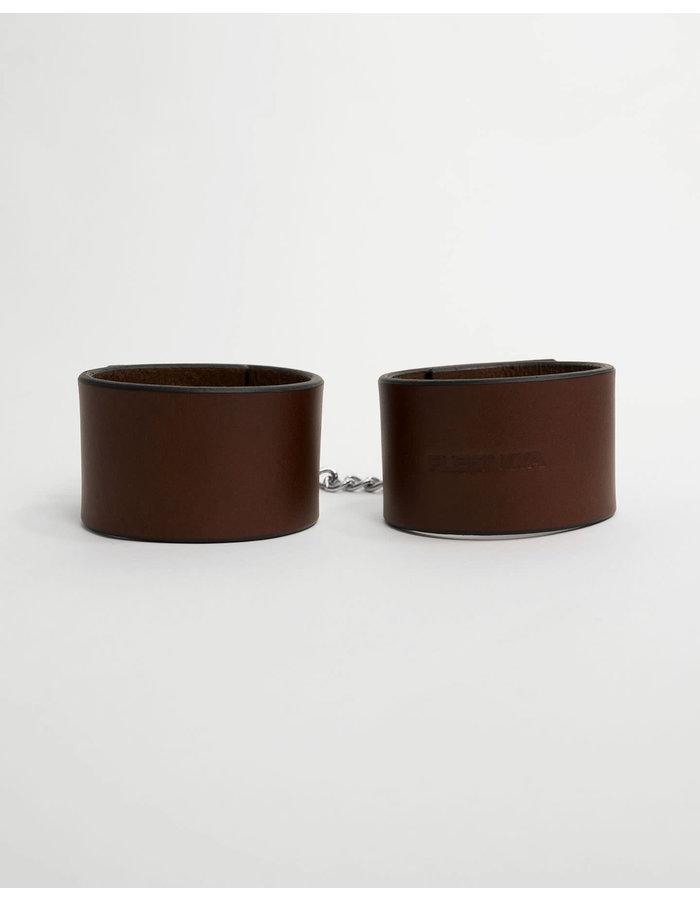 FLEET ILYA PADLOCK CUFFS WITH CHAIN - BROWN/SILVER