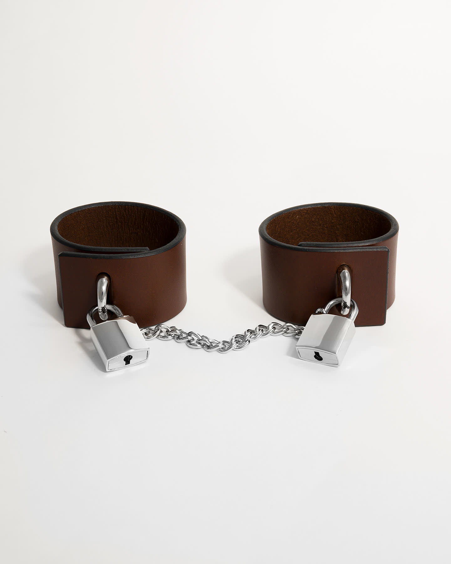 PADLOCK CUFFS WITH CHAIN - BROWN/SILVER