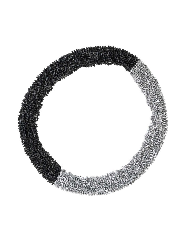JIAN HUI CROCHETED FISHNET INFINITY SCARF - BLACK/SILVER
