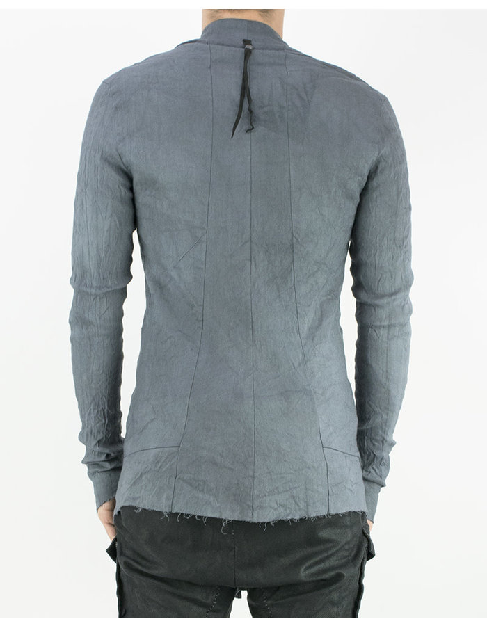 139DEC HIGH COLLAR STRETCH LINEN SHIRT - GREY
