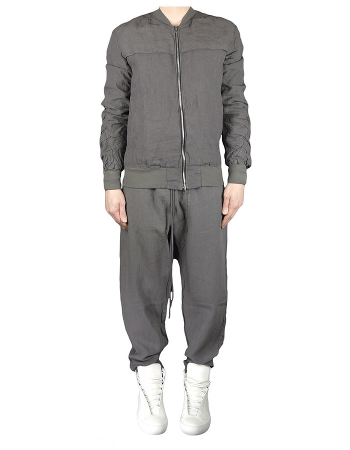 LOST AND FOUND ROOMS LINEN BOMBER JACKET - COAL