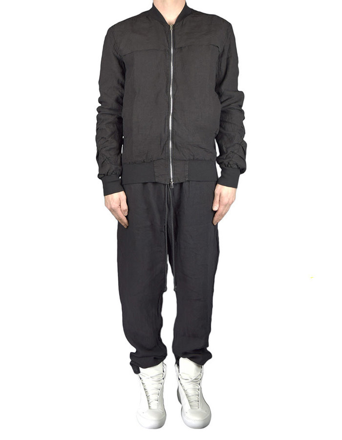 LOST AND FOUND ROOMS LINEN BOMBER JACKET - BLACK