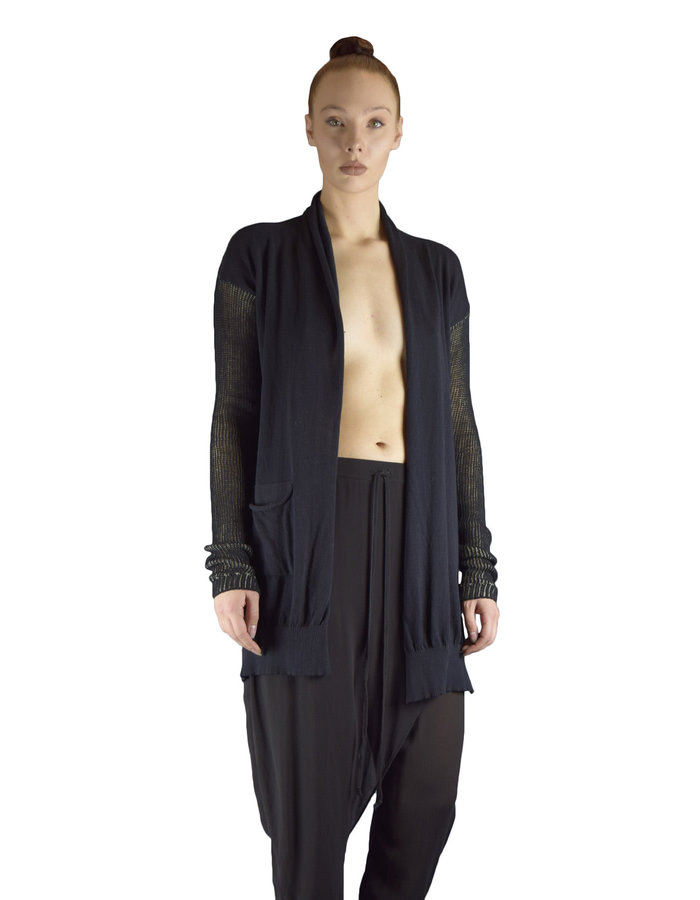 LOST AND FOUND ROOMS TWO POCKET CARDIGAN - BLACK