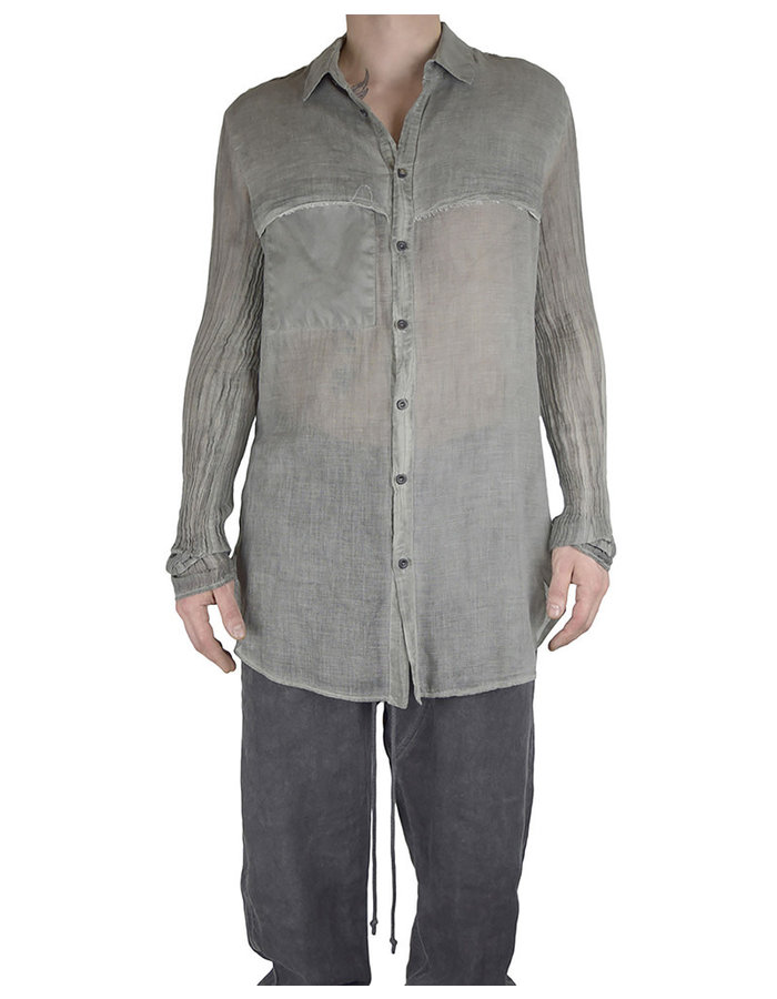 LOST AND FOUND ROOMS COTTON LAYERED SHIRT - SAGE