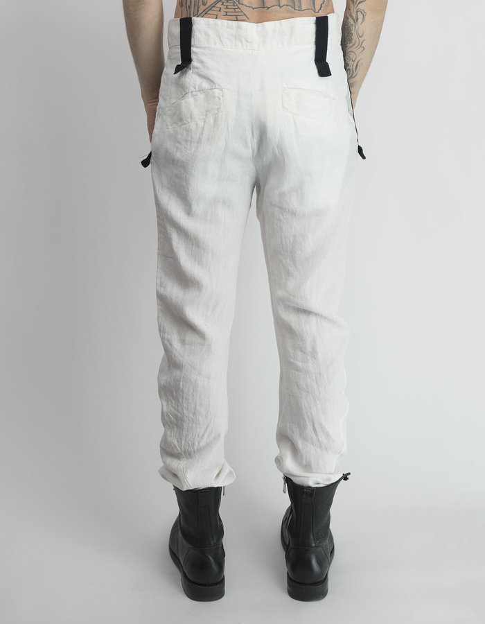 LOST AND FOUND ROOMS LINEN CURVED LEG PANT - WHITE