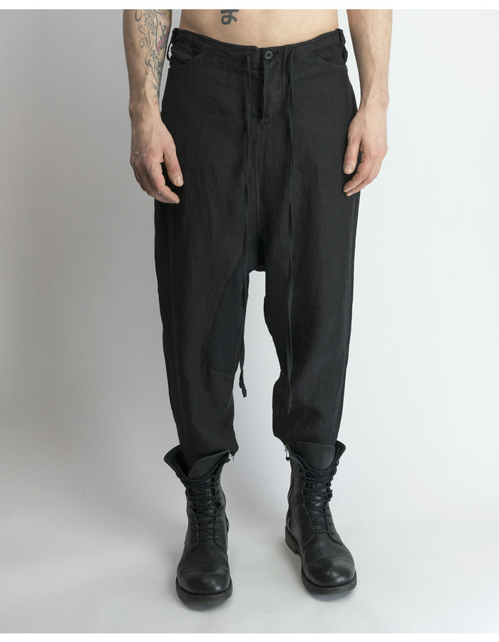 LOST AND FOUND ROOMS LINEN TAILORED BACK PANT - BLACK