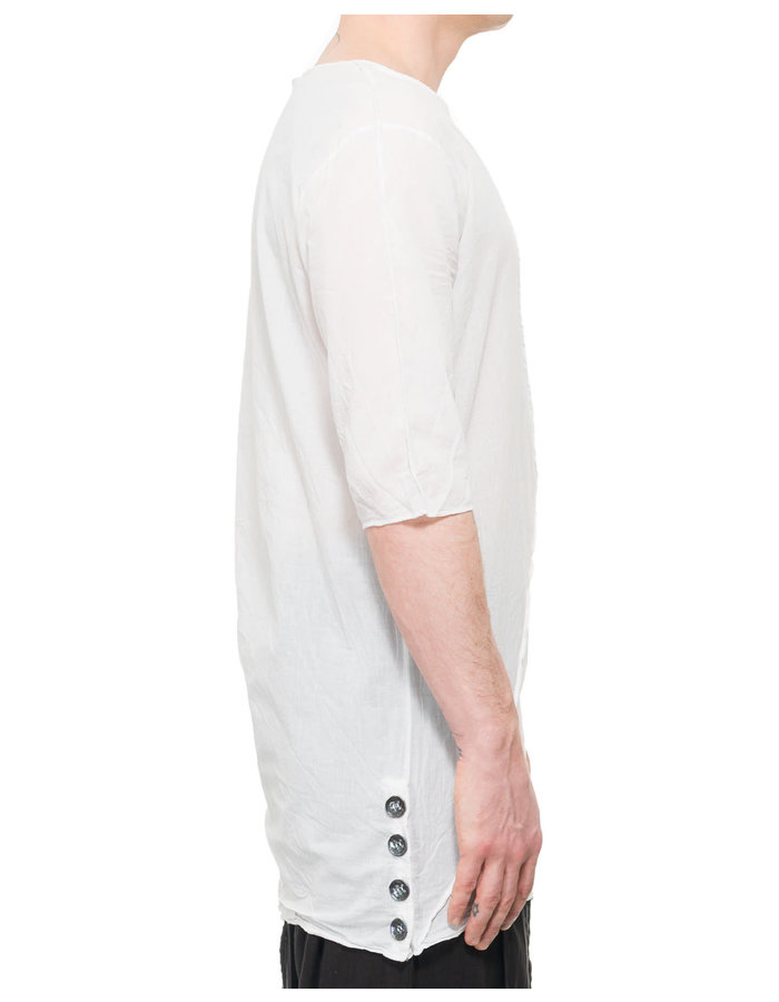 LA HAINE INSIDE US LONG SHIRT WITH BUTTONED SIDE - WHITE